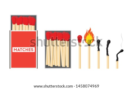 Set of matches. Burning match with fire, opened matchbox, burnt matchstick isolated on white background. Vector illustration