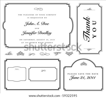 Set of matching vector frames and ornaments with sample text. Perfect as invitation or announcement. All pieces are separate. Easy to change colors and edit.