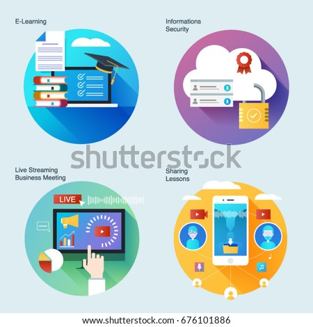 Set of material design concepts with icons for online education,informations security, streaming business meeting,sharing lessons.UI/UX kit for web design,applications,mobile interface,print design.