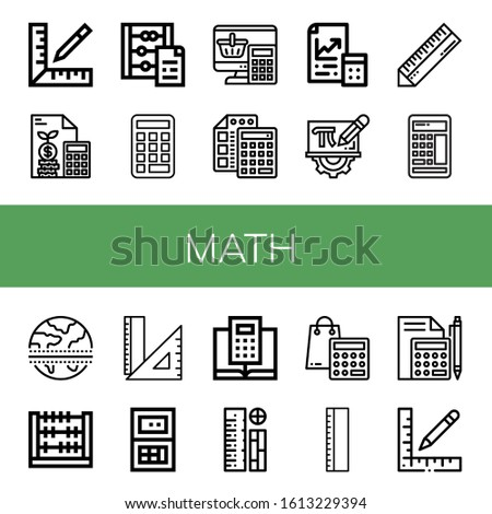 Set of math icons. Such as Ruler, Calculator, Abacus, Maths, Mathematics, Equator, Rulers , math icons