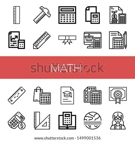 Set of math icons such as Ruler, Maths, Calculator, Degree, Rulers, Equator, Mathematician , math