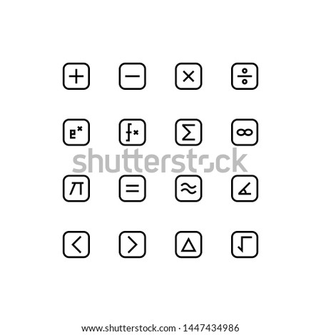 Set of math, mathematics, function, calculus outline style icon - vector