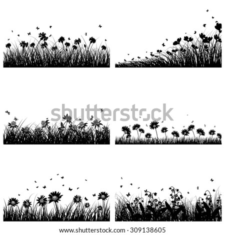 set of 6 meadow backgrounds