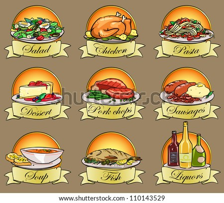 Set of meal labels hand drawn food logos text is removable