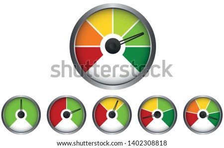 Set of Measuring Segment Icons - Speedometer - Easy Normal Hard