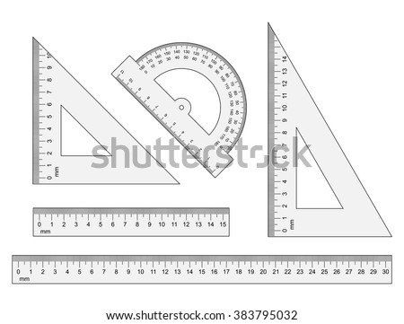 Set of measuring tools: rulers, triangles, protractor. Vector school  instruments isolated on white background. Correct form and sizes.  Metric system of measurements: centimeters and millimeters.