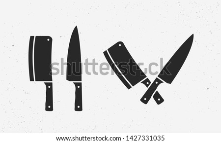 Set of meat cutting knives icons. Butcher supplies. Set of chef's and meat cleaver knives. Butcher's design elements for logo, poster, emblem. Vector Illustration Stock photo ©