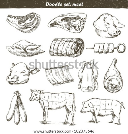 set of meat doodle