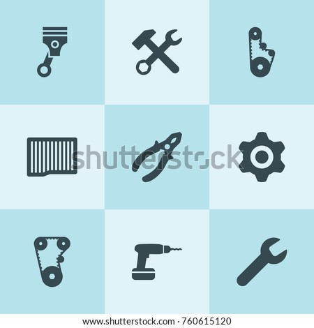 Set of 9 mechanical filled icons such as wrench, air filter, gear, wrench hammer, timing belt, piston, pliers