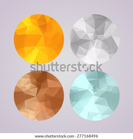 Set of medals gold, silver, bronze, platinum in polygonal geometric trendy style. Awards for first, second, third and grand prix, vector eps8 illustration