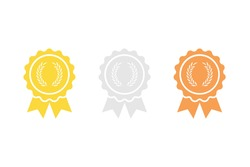 Set of medals with laurel icon .Vector illustration isolated on white background.Eps 10.