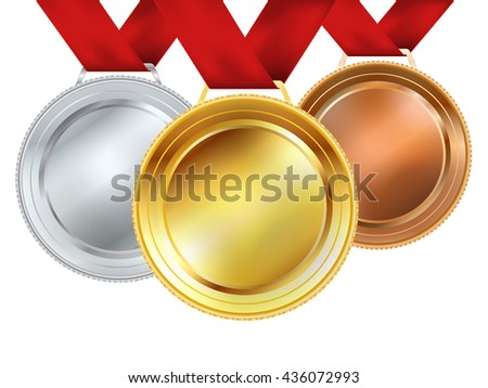 Sport medals with red ribbons - Download Free Vectors