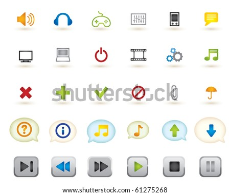 set of media graphics icons