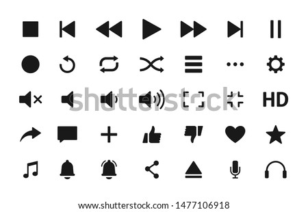 Set of Media player icons in line style. Music, interface, design media player buttons collection. Vector Illustration.