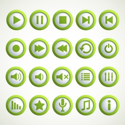 Set of Media player icons. Vector illustration.