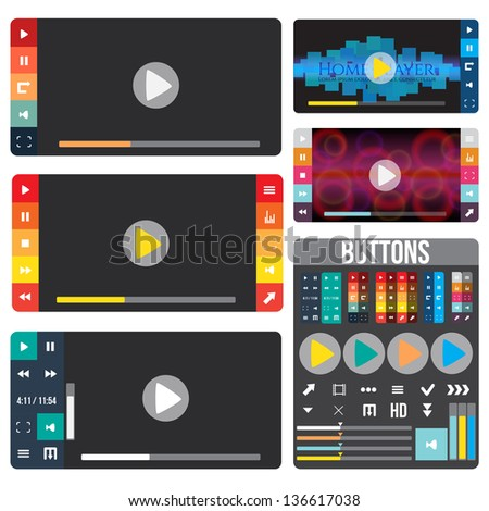 Set of media players for website or application. Creative Flat design with buttons and icons.