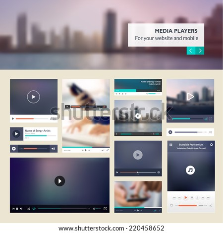 Set of media players for websites and mobile websites design