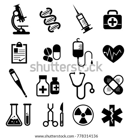 Set of Medical and Health icons. Isolated on white background. Vector illustration