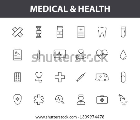Set of 24 Medical and Health web icons in line style. Medicine and Health Care, RX, infographic. Vector illustration