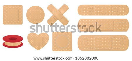 set of medical band plaster or first aid medical adhesive bandages or medical patch plasters concept. eps 10 vector