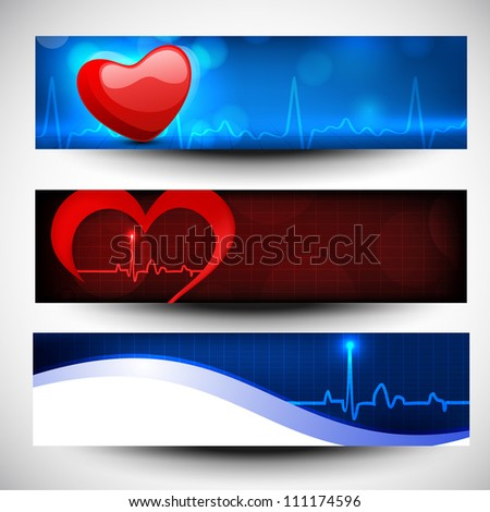 Set of medical banners or website headers. EPS 10.