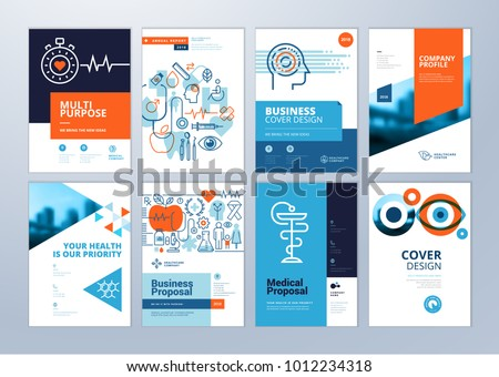 Set of medical brochure, annual report, flyer design templates in A4 size. Vector illustrations for medical, healthcare, pharmacy presentation, document cover and layout template designs.