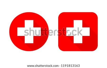 Set of Medical crosses. Vector illustration. Red Medical symbol isolated