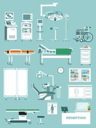 Set of medical equipment in flat style. Modern furniture, equipment and tools for diagnostic, treatment and surgery. Vector illustration isolated on blue background.