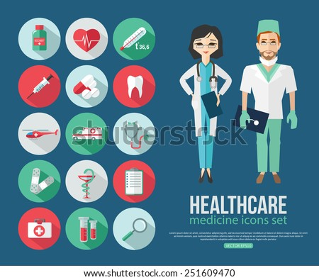 Set of medical healthcare flat icons. Doctor and dentist professional people. Vector illustration.