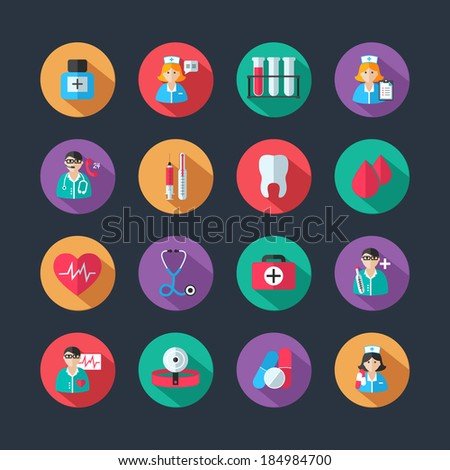 Set of medical healthcare icons and doctor hospital avatars with nurse heart isolated vector illustration