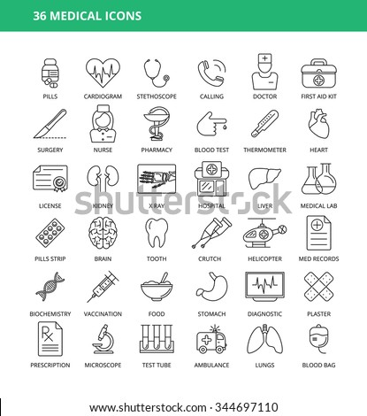 Set of 36 medical icons
