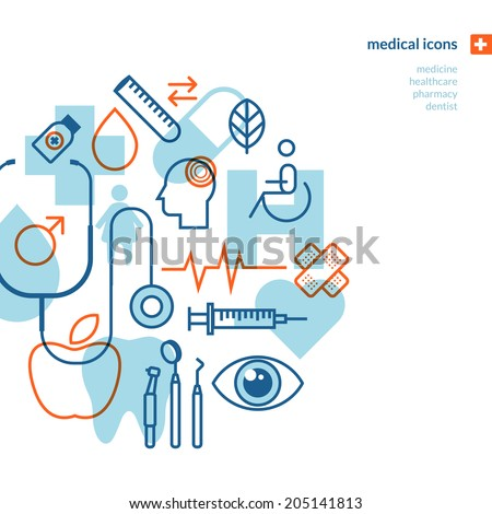 Set of medical icons. Icons for medicine, healthcare, pharmacy, dentist.