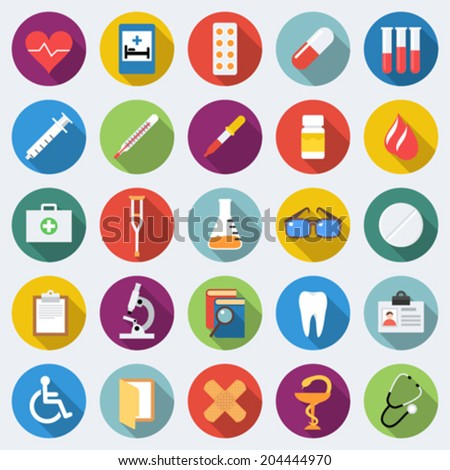 Set of medical icons in flat design with long shadows