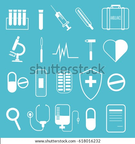 Set of medical icons on a light blue background. Simple line design