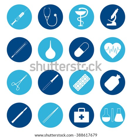 set of medical icons on color