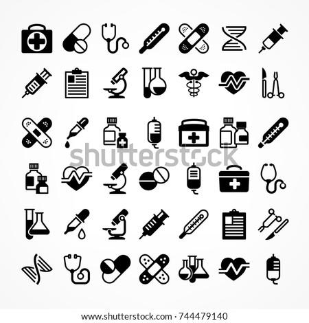 Set of medical icons on white, medicine symbols in black. Vector illustration.