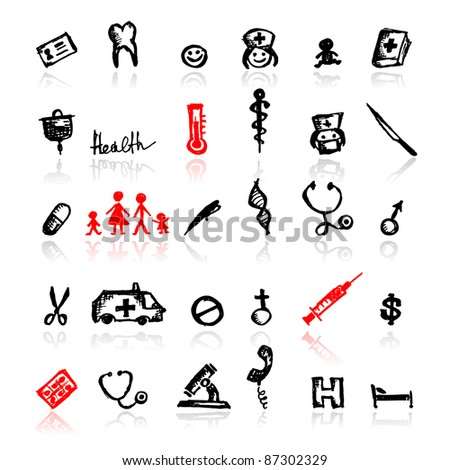 Set of medical icons, sketch for your design