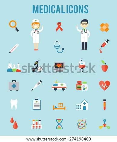 Set of medical icons. Stethoscope and blood, ambulance and clinic, microscope and syringe. Vector illusrtation
