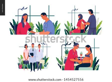 Set of medical insurance illustrations - blood pressure test, auscultation, medical guide, routine pregnancy cover - modern flat vector concept digital illustrations, insurance plan metaphor
