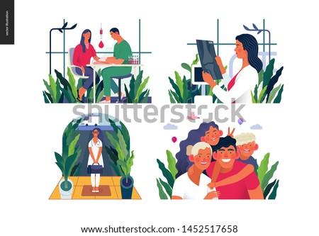 Set of medical insurance illustrations -blood test, x-ray test, home medical assistance, family insurance -modern flat vector concept digital illustrations, insurance plan metaphor
