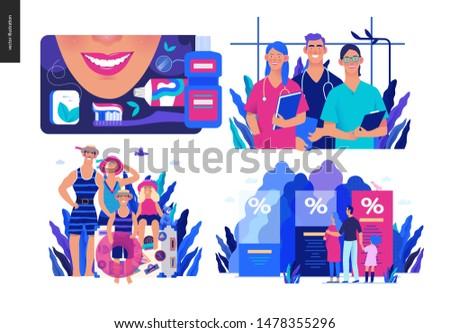 Set of medical insurance illustrations - dental care, internship jobs, travel insurance, health insurance plans - modern flat vector concept digital illustrations, medical insurance plan metaphor