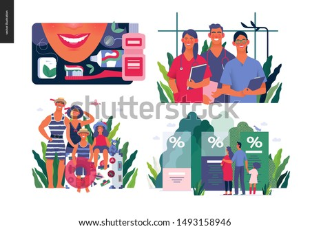 Set of medical insurance illustrations - dental care, internship jobs, travel insurance, health insurance plans - modern flat vector concept digital illustrations, medical insurance plan metaphor