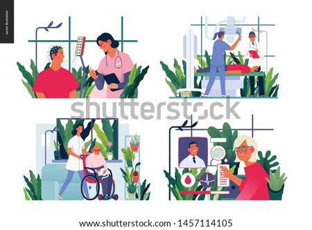 Set of medical insurance illustrations -EEG - electroencephalography, x-ray test, senior home support, medical case manager -modern flat vector concept digital illustrations, insurance plan metaphor