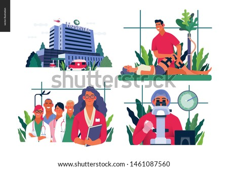 Set of medical insurance illustrations - hospital, orthopedic traumathology, hospital administrator, in vitro fertilization - modern flat vector concept digital illustrations, insurance plan metaphor