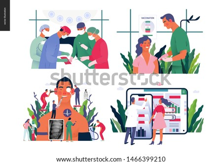 Set of medical insurance - surgery and surgical procedures, immunization, vaccination schedule, annual health checkups, medical reports application - modern flat vector concept digital illustrations