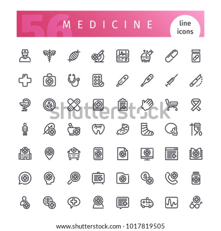 Set of 56 medical line icons suitable for web, infographics and apps. Isolated on white background. Clipping paths included.