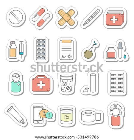 Set of 20 medical line icons. Vector collection of health and medicine. Volume sticker style