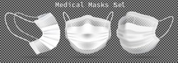 Set of medical masks - template. From different angles To protect coronavirus, infection and contaminated air. 3D realistic illustration. Isolated on transparent background. Vector.