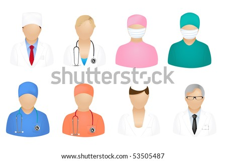 Set Of Medical People Icons, Isolated On White - stock vector