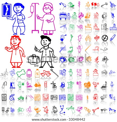 Set of medical sketches. Part 6. Isolated groups and layers. Global colors.
